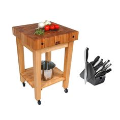 John Boos Maple (Brown) Butcher Block 24 x 24 Kitchen Cart GB-C and Henckels 13-piece Hencles Knife Set (Boos GB-C Kitchen Cart)