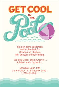 """""""Pool party"""" printable invitation. Customize, add text and photos. print for free!"""