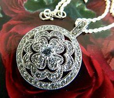 Vintage  925 CZ  encrusted  flower  pendant  on  chain   BellaWorxJewelry - Jewelry on ArtFire