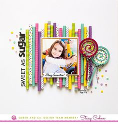 Rolled patterned paper background and lollipop shakers! Queen and Company Candy Land Kit, Stacy Cohen Baby Scrapbook, Scrapbook Paper Crafts, Scrapbook Albums, Scrapbook Cards, Scrapbook Sketches, Card Sketches, Scrapbooking Layouts, Scrapbook Background, Paper Background
