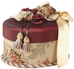 Jennifer Taylor Dempsey Romance Oval Box with Bouquet Trim Fabric Covered Boxes, Jennifer Taylor, Love Box, Creative Box, Hat Boxes, Pretty Box, Altered Boxes, Diy Ribbon, Vintage Chandelier