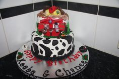 Cowboy cake Chocolate. Cow print 1T barn etc 2T