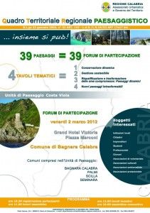 A Bagnara il Forum per il Quadro Territoriale Regionale Paesaggistico della Costa Viola – Scilla, Bagnara Calabra, Palmi, Seminara