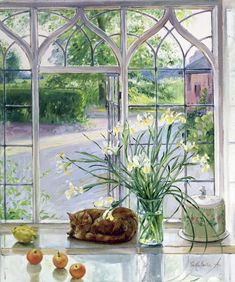 Timothy Easton (b. 1943) — Irises and Sleeping Cat, 1990  (800×958)