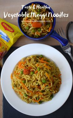 Vegetable Maggi Noodles is one of the most popular instant noodles recipes worldwide. It is the amalgamation of instant Maggi noodles with healthy vegetables and some spices. It is mostly served for breakfast or snacks. Veg Noodles Recipe, Noodle Recipes, Indian Food Recipes, Vegan Recipes, Ethnic Recipes, Salad Recipes, Breakfast Snacks, Breakfast Recipes, Eten