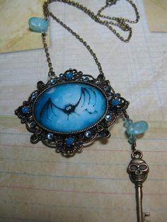 Halloween Bat Resin Photo on Vintage Bronze with  Swarovski Crystals & Charm Necklace - PRICE REDUCED. $13.95, via Etsy.