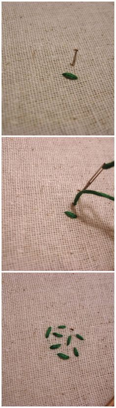 2.SEED STITCH  This picture will show you how to do embroidery making it look like seeds are stitched on the piece of cloth. It is very easy and if you follow the steps you can make them look perfect.