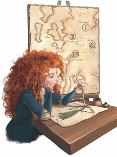 Girl with red curly hair illustration - Merida concept art - Brave - Pixar Disney Kunst, Arte Disney, Disney Fan Art, Disney Magic, Pixar Concept Art, Princesa Merida Disney, Disney And Dreamworks, Disney Pixar, Disney Films