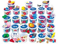 Alphabet Sounds Teaching Tubs - Perfect for exploring letter sounds, our teaching tubs let kids identify and sort a variety of adorable miniatures, play memory games and build vocabulary skills. Teaching The Alphabet, Learning Letters, Alphabet Activities, Literacy Activities, Kids Learning, Preschool Literacy, Preschool Letters, Language Activities, Learning Games