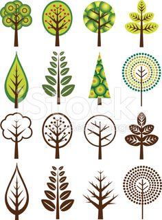 Retro Trees royalty-free stock vector art