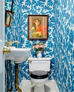 "One Kings Lane on Instagram: """"It sounds cliché, but the powder room is the PERFECT place for a punch of color - pattern or both! My powder room is the only bathroom on the main level for guests, this tight space benefitted from a magical @brunschwigfils wallpaper. The cyan and navy blues create a gorgeous (tight) space. I paired the romantic paper with some of my favorite flea market finds from my travels."" - @fawngalliinteriors #MyOKLStyle #OKLColorStory"""