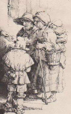 Rembrandt Harmensz. van Rijn (1606-1669) een blinde draailier speler en familie ontvangst Alms Famille de mendiants recevant l'aumône. Waarschijnlijk een impressie van het einde van de 18e eeuw.  Rembrandt Harmensz. van Rijn (1648) een blinde draailier speler en familie ontvangst Alms Famille de mendiants recevant l'aumône.Laat afdrukken waarschijnlijk eind van de 18e eeuw - ETS droge punt en zwart krijt.In gemiddelde conditie licht beschadigd aan de achterkant als gevolg van het detachement…