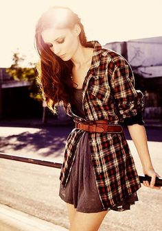 Simple Dress or Oversized Shirt as a dress + Oversized Flannel Shirt as Sweater/Cardigan + Belt