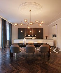 Interior rendering of a haussmann project. Apartment Interior Design, Interior Design Living Room, Dining Room Design, Kitchen Design, Traditional Dining Rooms, Traditional Kitchens, Dining Table Lighting, Luxury Interior, Interior Design Inspiration