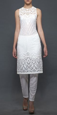 White suit sheer fabric