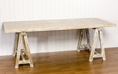 Brignoles White Wash Casual Cottage Saw Horse Dining Table