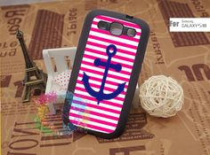 Samsung Galaxy S3 Case Samsung Galaxy S3 Phone Case Samsung Galaxy Cover Hard Plastic or Silicon Rubber Cases - Pink stripes anchor