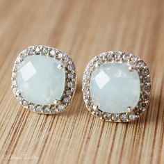 Silver Aqua Chalcedony Stud Earrings  Pave White Topaz  by OhKuol