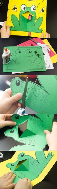 easy pop up frog art for kids hub - PIPicStats Summer Crafts, Fun Crafts, Crafts For Kids, Paper Crafts, Card Crafts, Frog Crafts Preschool, Reptiles Preschool, Preschool Learning, Origami Simple