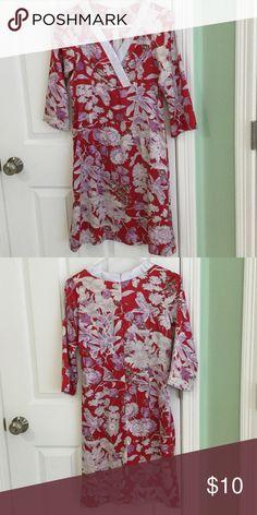 Floral Silk Dress Brand New, Custom Made in Vietnam, Size: shoulder to dress hem: 35, sleeve: 16, chest: 32, hip: 34 Dresses Midi