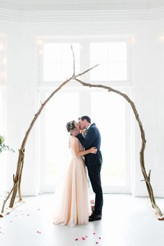 Char Co Wedding.  bride and groom. simple, natural ceremony backdrop.