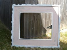 Distressed Mirror 20x24 Frame Wood, Hand painted Pink w/ White wavy trim, Girls Room or Nursery