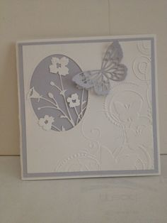 Inspired by pamscrafts: Flight of butterflies card, I made this 51/2x51/2 card using Darice embossing folder Butterfly swirl, Memorybox Bella Bouquet die cut, Memorybox Theo butterfly die cut and Spellbinders oval die cut.