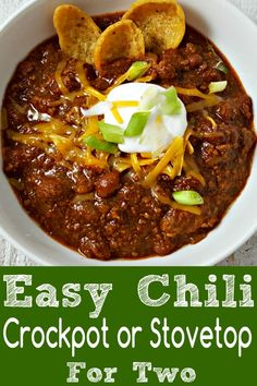 This Easy Crockpot Chili recipe for two is super easy and flavorful with a secret ingredient of s Chilli Recipes, Beef Recipes, Cooking Recipes, Meatball Recipes, Chili Recipe For Two, Small Batch Chili Recipe, Chili O Chili Recipe, Chili Recipe Stove Top, Recipes