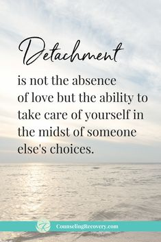 Detachment is the ability to set healthy boundaries as a way of taking care of yourself. Detachment is especially important when we have loved ones struggling with addiction. Toxic Relationships, Healthy Relationships, Relationship Tips, Marriage Tips, Relationship Problems Quotes, Relationship Challenge, Relationship Building, Acceptance Quotes Relationships, Relationship Pictures