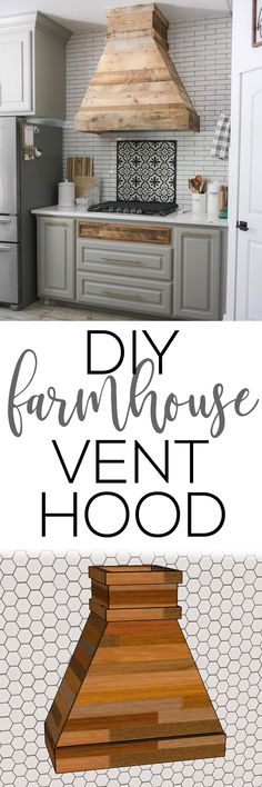 DIY Modern Farmhouse Vent Hood Free Plans and how-to video!  I recently did a renovation on my kitchen, and one of the most dramatic changes was the space over my stove.  My old kitchen was full of cabinetry.  It was beautiful and well-built, but I never used that cabinetry.  I decided to rip it out and build a whole new vent hood, and I love the results! Check out how it turned out!