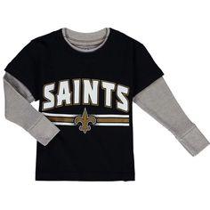 New Orleans Saints Preschool Fan Gear Bleachers Faux Layer Long Sleeve T- Shirt - Black dad0a8546