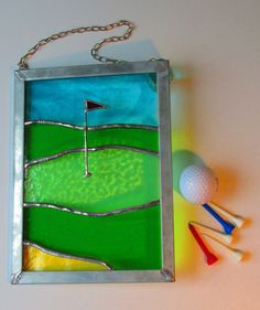 Ideal gift for the golfer! Golf Green Panel Stained Glass by MadeInGlass on Etsy, Stained Glass Paint, Stained Glass Designs, Stained Glass Projects, Stained Glass Patterns, Mosaic Patterns, Mosaic Ideas, Glass Wall Art, Fused Glass Art, Mosaic Glass