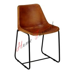 Vintage Industrial Style Dining Chair Leather Brown Chair Metal Dining Chairs Price $199  Including Shipping, We Ship worldwide.
