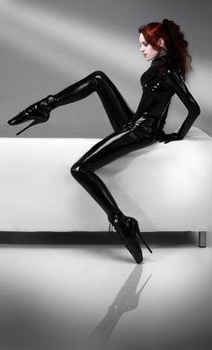Latex catsuit and ballet heels
