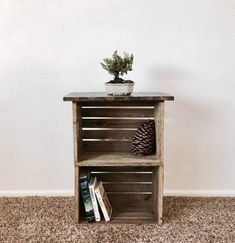 Super Diy Wood Crate Nightstand Ideas Best Picture For Wooden crates bookshelf book storage For Crate Nightstand, Diy Nightstand, Diy End Tables, Wooden Crate End Table, Wood Diy, Diy Wooden Crate, Wooden Crates Nightstand, Crate Table, Crate Side Table