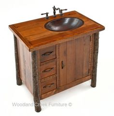 Rustic Hickory and Barn Wood Vanity by Woodland Creek Furniture. Available Any Size & Layout Needed.  Matching linen & medicine cabinets available.
