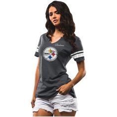 Women's Majestic Charcoal Pittsburgh Steelers Field of Play Tri-Blend T-Shirt