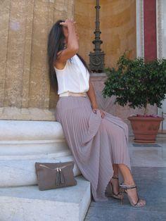plissè soleil #long #skirt #albano_shoes #fashion #blogger #ootd