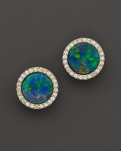 1,200.00$  Watch now - http://vilro.justgood.pw/vig/item.php?t=qksia2g26631 - Meira T 14K Yellow Gold Blue Opal and Diamond Stud Earrings 1,200.00$