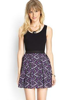 Pleated Abstract Skater Skirt   FOREVER21 #F21Contemporary // Love this for a party