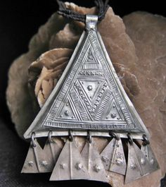 Tuareg Triangle Amulet with Leather Cords