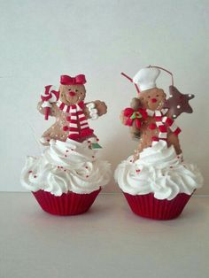 Fake Cupcake Creations is offering one of several original gingerbread boy and g. - Fake Cupcake Creations is offering one of several original gingerbread boy and girl fake cupcakes C - Cupcake Christmas, Gingerbread Christmas Decor, Christmas Cupcakes Decoration, Gingerbread Ornaments, Gingerbread Decorations, Christmas Kitchen, Gingerbread Man, Christmas Candy, All Things Christmas