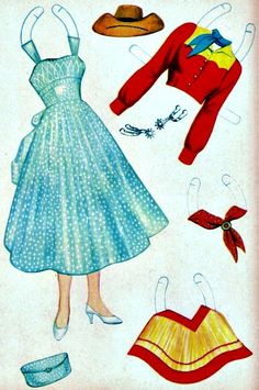 These Western Paper Dolls are from Saalfield, American Craft numbered 711 and are from 1959. They originally sold for 29 cents. This front...