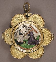 #Medieval Reliquary Pendant  15th Century  --  French  --  Basse taille enamel, niello, silver & silver gilt.  --  Metropolitan Museum of Art
