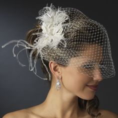 Ekaterina Stunning Feather and Austrian Crystal Bridal Comb on Birdcage Veil - White >>> Click image to review more details.