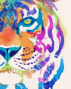 Colorful Tiger Art Print  Gifts  Rainbow  Cute  Animals