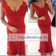 Wholesale Evening Dresses - Buy 2014 Sexy New Red V Neck Lace Floor Length Evening Dresses Applique Mermaid Formal Party Gowns, $107.44 | DHgate
