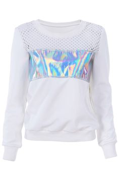 ROMWE Holographic Print Hollow Sweatshirt, The Latest Street Fashion Holographic Print, Holographic Fashion, Iridescent Fashion, Holographic Background, Galaxy Fashion, Tween Fashion, Fashion Moda, Fashion News, Fashion Trends