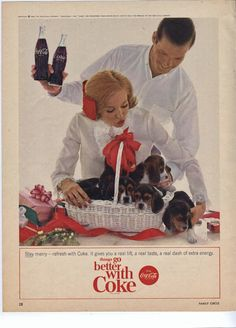 Vintage Coca Cola Coke Advertisement 1964 Womans Circle Ad Puppies Beagles.