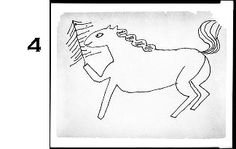 4. Andy Warhol, Horse and Christmas Tree, c. 1950-1951, Drawing American, 20th century Black felt-tipped pen on yellowed newsprint paper, Harvard Art Museums/Fogg Museum